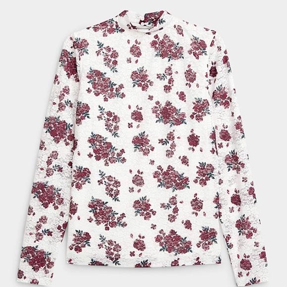 🌸Floral-print lace mock-neck T-shirt